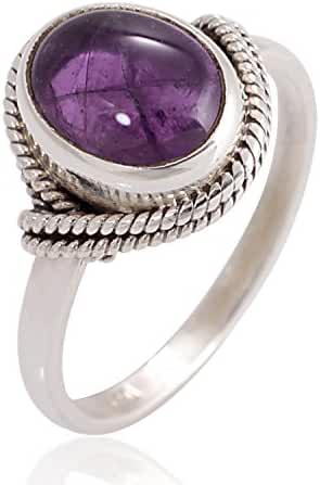 925 Sterling Silver Amethyst Gemstone Oval Rope Edge Vintage Band Ring Size 6, 7, 8
